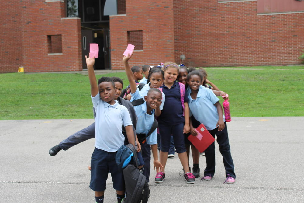 Before school, students line up for a headcount. SUSANNAH LOHR | ST. LOUIS PUBLIC RADIO