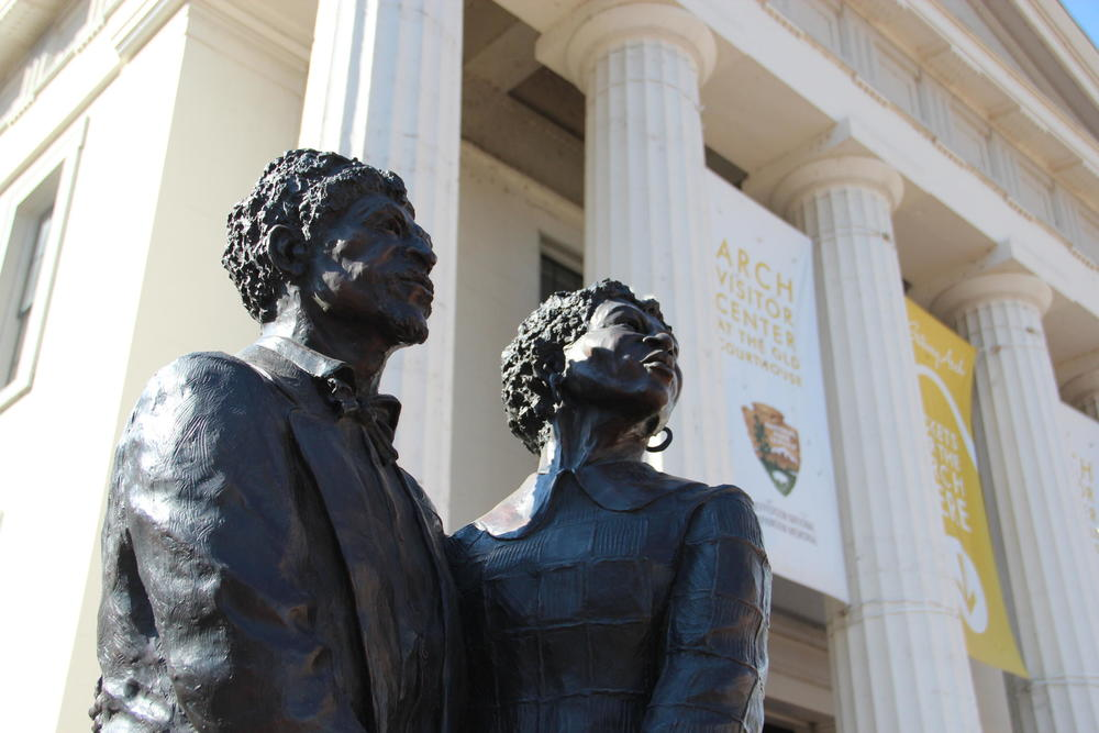 The Dred Scott memorial was one of the first places our new We Live Here co-host, Kameel Stanley, went when she first got into town. TIM LLOYD | ST. LOUIS PUBLIC RADIO