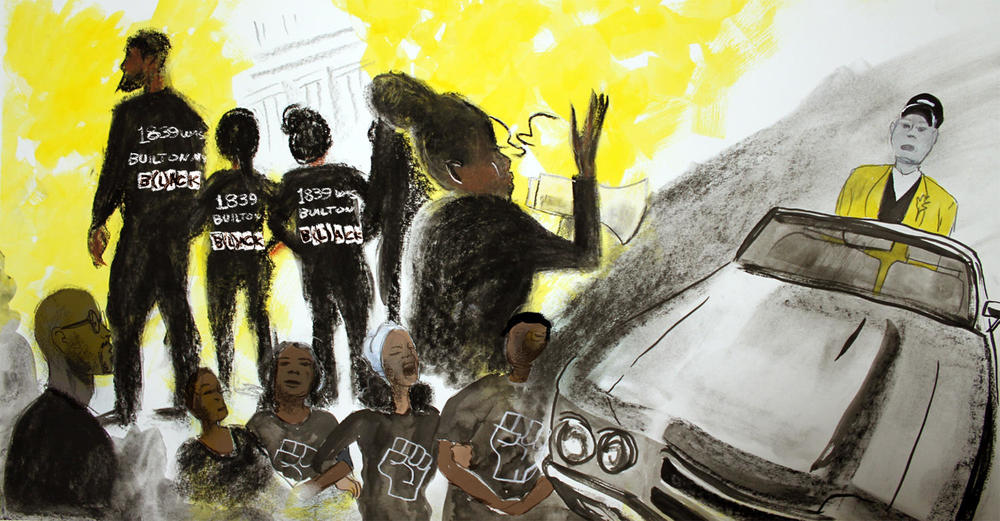Students blocked a car carrying former University of Missouri system president Tim Wolfe during Mizzou's homecoming parade on Oct. 10, 2015. Weeks later, Wolfe resigned. SUSANNAH LOHR | ST. LOUIS PUBLIC RADIO