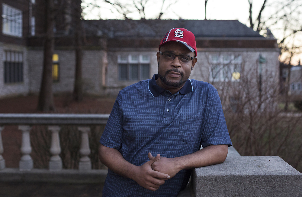 Drew Brown attended Roosevelt High in south St. Louis in the 1980s. While other kids from the neighborhood went into the deseg program, his family kept him in neighborhood city schools. CAROLINA HIDALGO | ST. LOUIS PUBLIC RADIO.