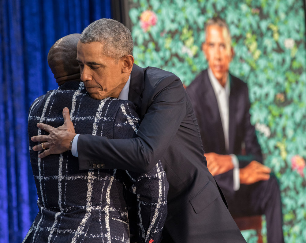Obama and Wiley during a Feb 12 ceremony at the Smithsonian's National Portrait Gallery | Photo by Pete Souza, courtesy of the Smithsonian