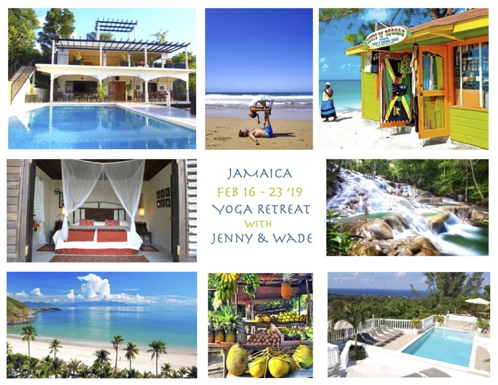 Jenny and I are excited to announce our 3rd annual Yoga retreat collaboration together, this year is in Jamaica! We only have a few rooms left so send me an email if Jamaica and a retreat with us is calling you! Check out    Yoga within You    for details     What's Included Starting at $1650  7 Nights of beautiful accommodations at The Jaquar Villa Retreat  3 healthy, delicious meals per day: Pescatarian, Vegan, Vegetarian, gluten-free, and other options available  Use of The Jaquar Villa's beautiful pools  Use of Cardiff Hill Estate's private white, sand beach (10 minute walk)  Use of The Jaquar Villa's Zen Pavilion for yoga  One complimentary cooking class with The Jaquar Villa's chef  White Night w/ Live Band on select evening  Free Wi-Fi  Time for Exploration, Adventure, Napping and Relaxation  Daily meditation and pranayama for stress relief  Twice daily Yoga w/ Jenny Guzon-Bae & Wade Gotwals  Jamaican Taxes
