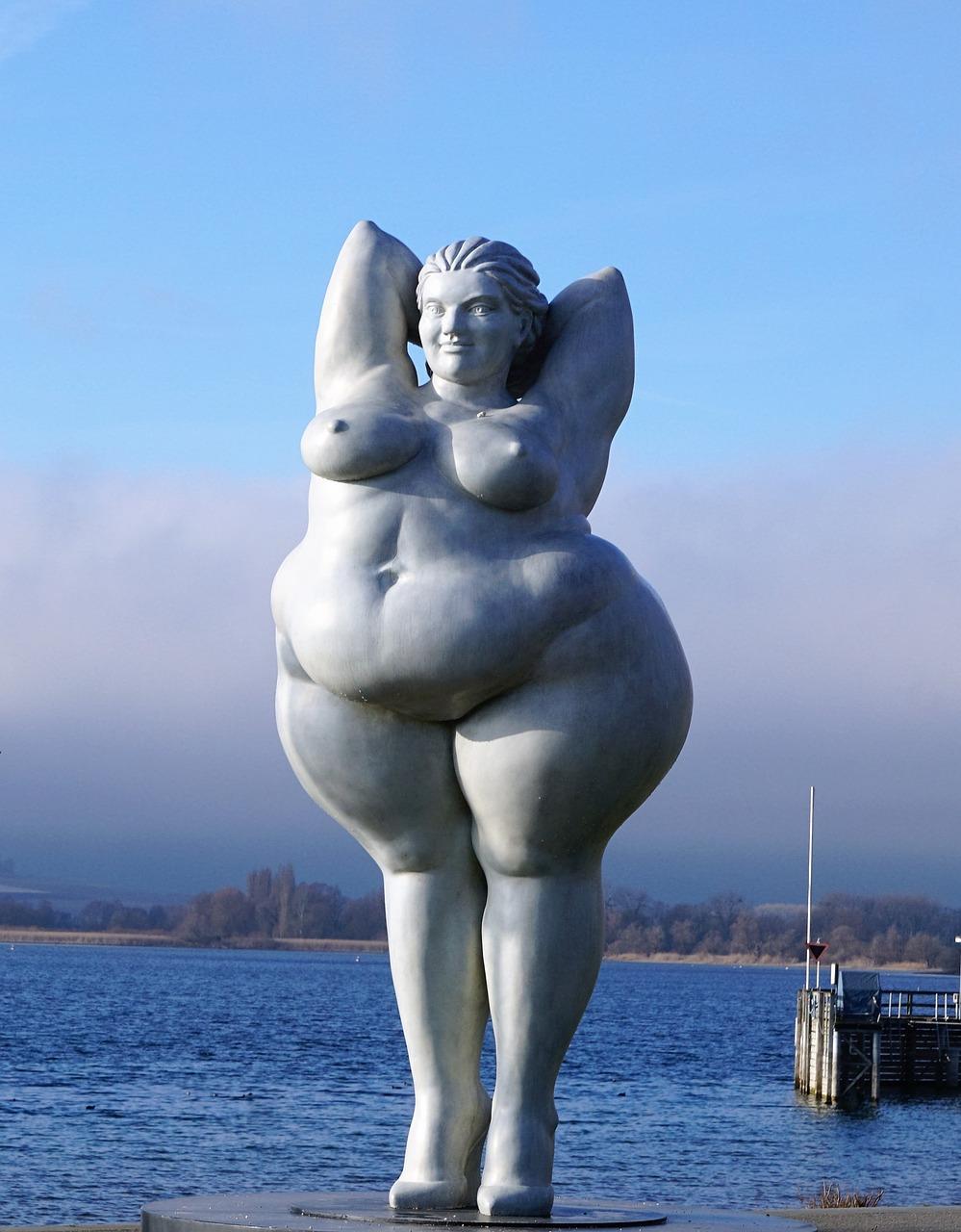 Statue of an overweight woman or aka, goddess statue body shaming illness shaming new age spirituality