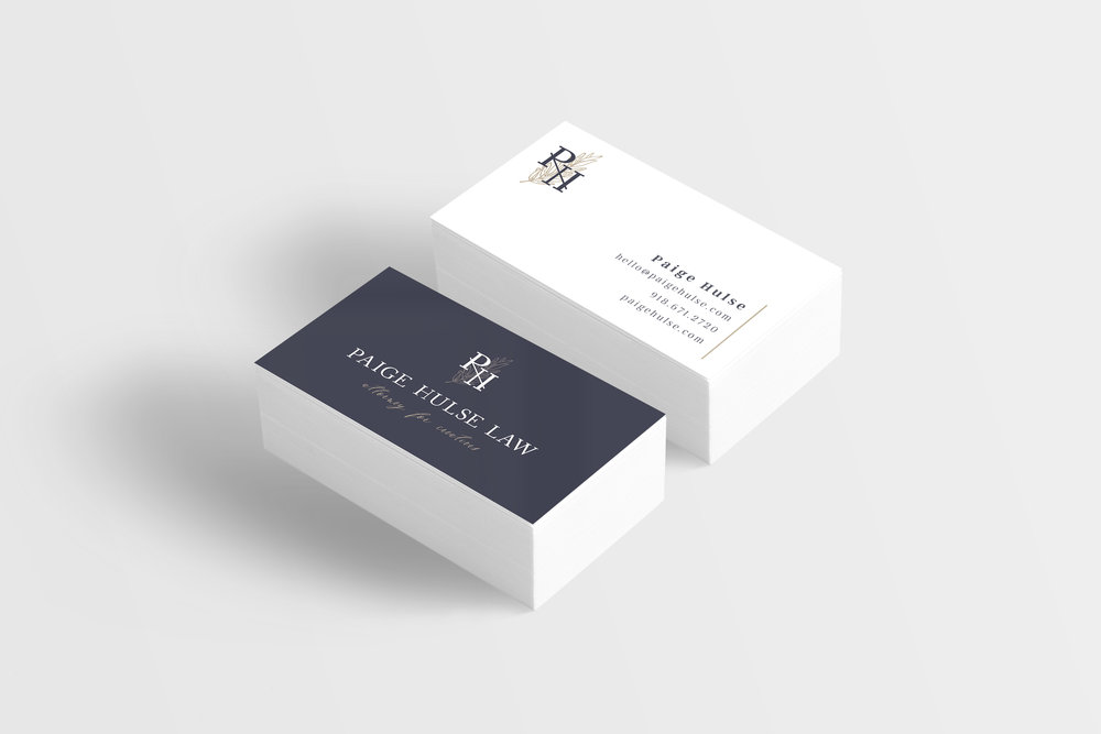 Paige Hulse Law – contract law firm – Hayley Bigham Designs – Tulsa Oklahoma Branding Studio – professional structured logo design - business card