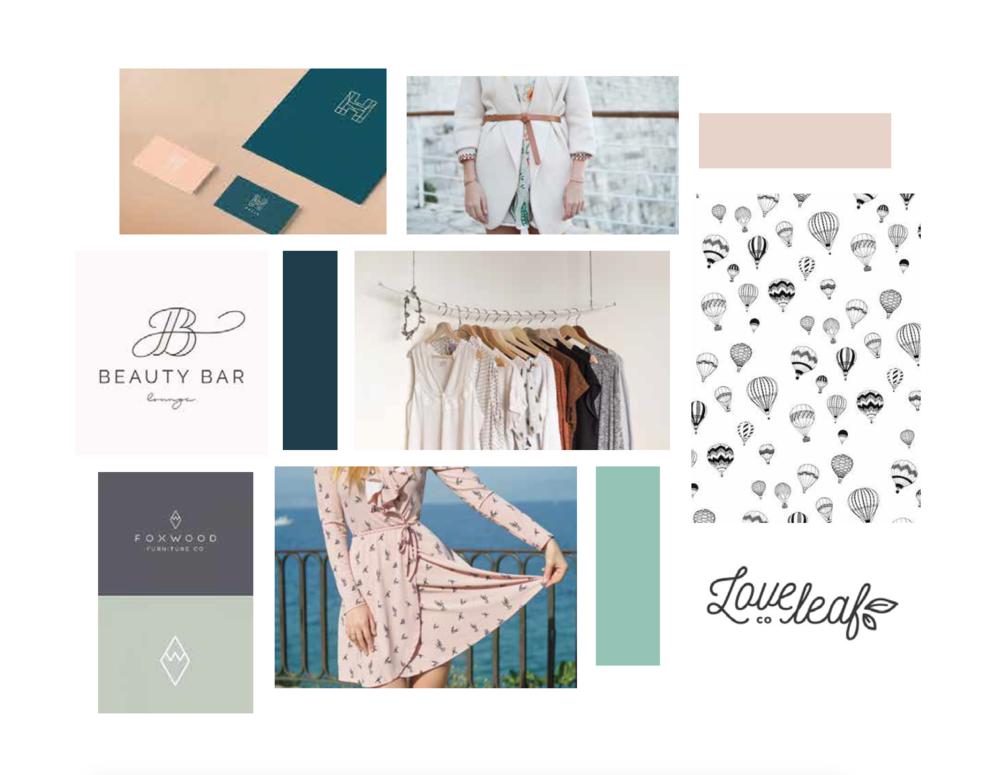 hayley bigham designs-tulsa graphic designer-Horizon boutique-feminine online clothing-moodboard-logo design