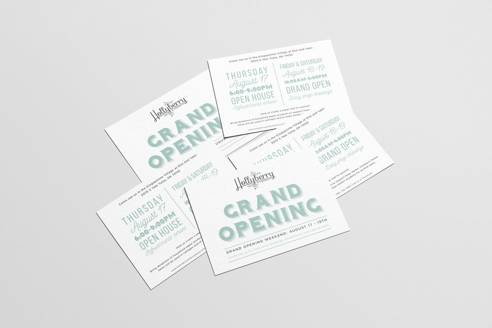 Hollyberry and Company – seasonal boutique – Hayley Bigham Designs – Tulsa Oklahoma Branding Studio – local gifts logo design and branding - grand opening postcard