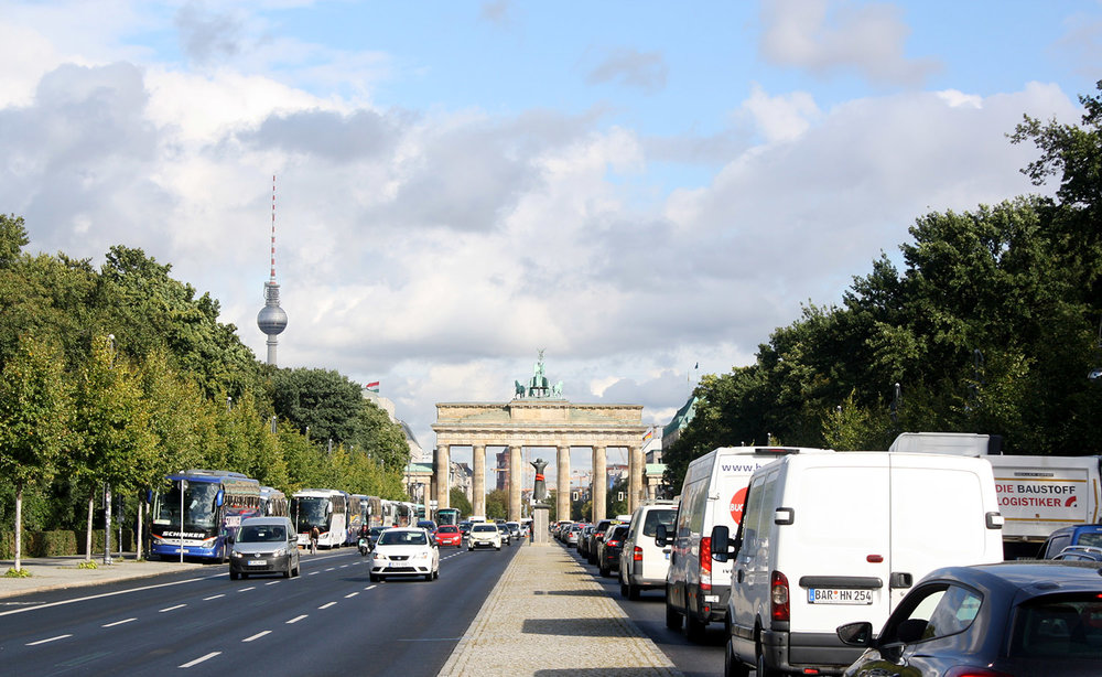 Looking back at the Brandenburg gate, Reichstag and the TV Tower