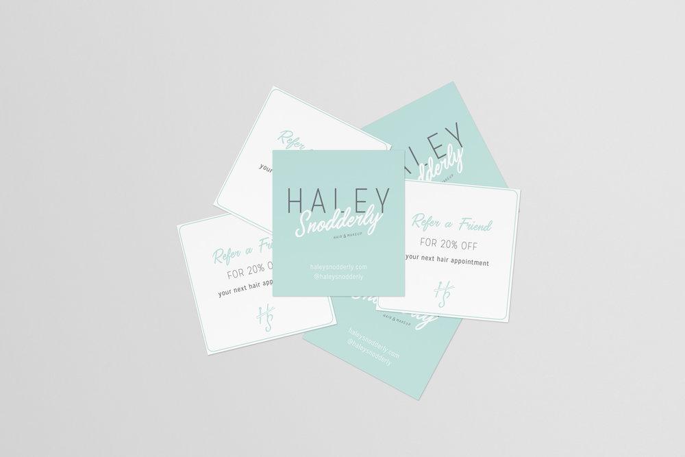 HaleySnoddery-Salon services referral card-hair stylist-makeup artist-tulsa oklahoma-hayley bigham designs-graphic designer-brand designer tulsa