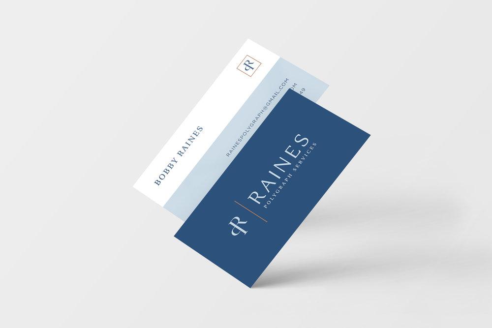 Business Card Design - Raines Polygraph Service - Hayley Bigham Designs - Tulsa brand designer - service branding - logo design - website design