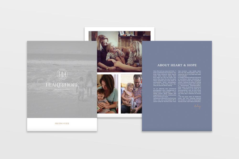 Price book design - Heart and Hope Photography - documentary family photographer - tulsa brand designer - graphic designer - hayley bigham designs