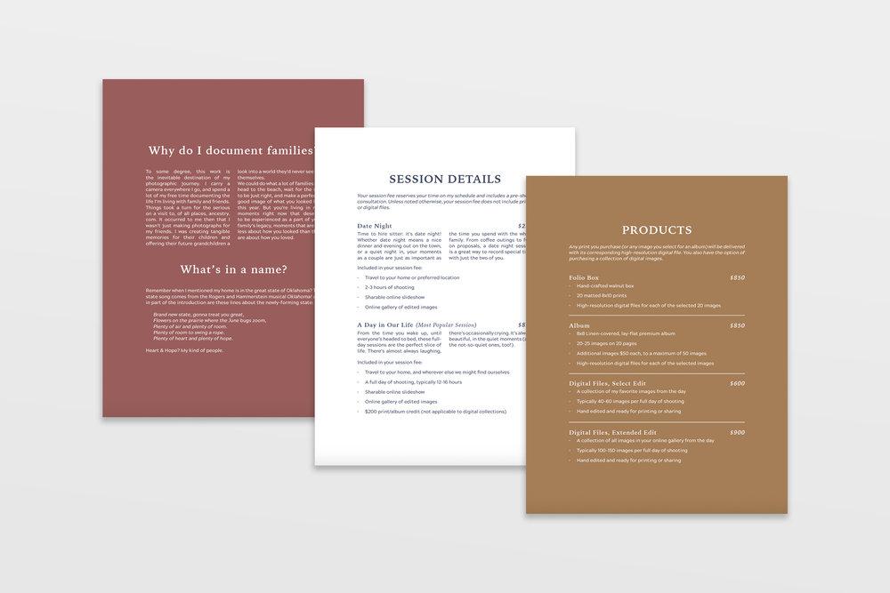 pricing book design - Heart and Hope Photography - documentary family photographer - tulsa brand designer - graphic designer - hayley bigham designs