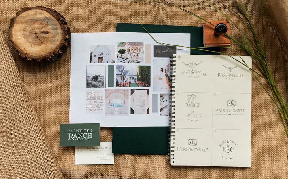 Eight Ten Ranch Branding - Stationery Suite - Hayley Bigham Designs - Tulsa Branding Studio  - Farmhouse Branding - Moodboard - Sketches