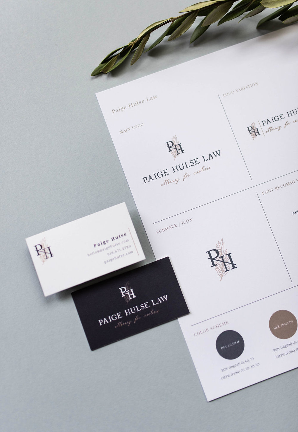 Paige Hulse Law – contract law firm – Hayley Bigham Designs – Tulsa Oklahoma Branding Studio – professional structured logo design