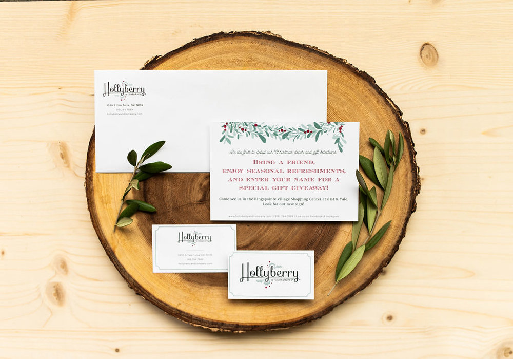 Hollyberry and Company – seasonal boutique – Hayley Bigham Designs – Tulsa Oklahoma Branding Studio – local gifts logo design and branding