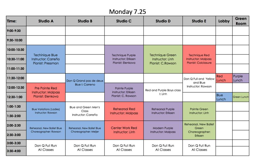 sample schedule  u2014 the new ballet school