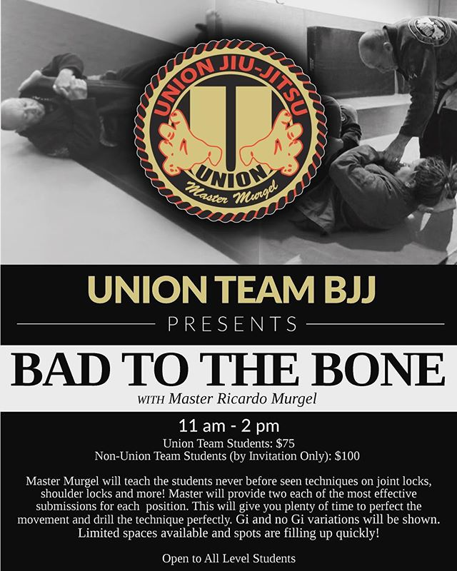 Union Team BJJ's coral belt, Master Ricardo Murgel, will be leading the Bad to the Bones seminar on Saturday, October 27th from 11am-2pm. Joint and shoulder locks and all the fun variations! Be there or be square. ✌🏽#unionteambjj #badtothebone #jiujiteiros #jiujitsulife #alpharetta #faixacoral