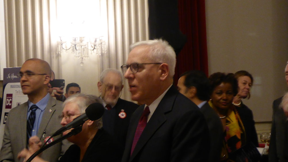 David M. Rubenstein making comments after receiving the key to Washington DC