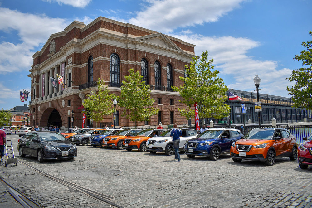 Kicks line up in front of the  Sagamore Pendry Baltimore Hotel