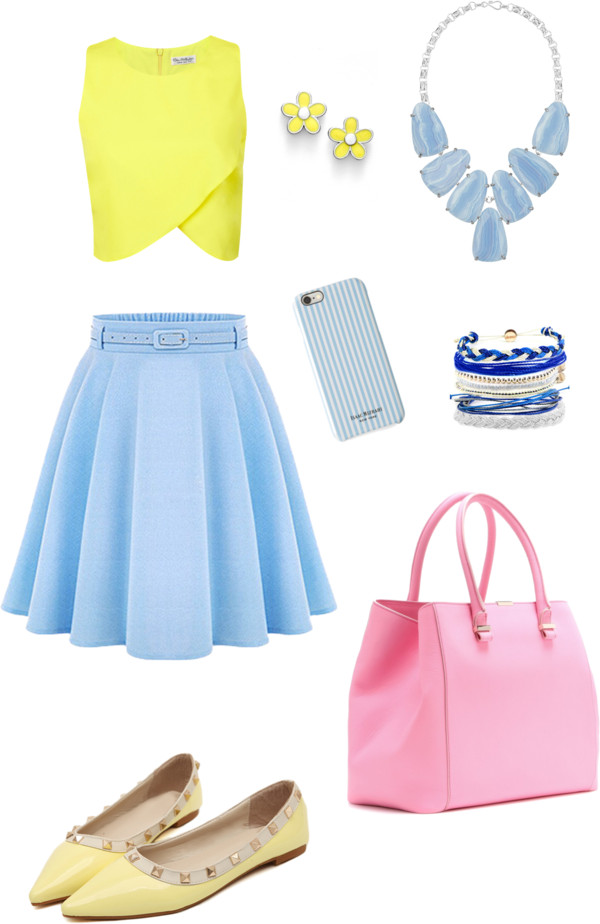 Spring bling by senseijahnal featuring Kendra Scott Miss Selfridge crop top / Skater skirt / Yellow shoes / Victoria Beckham leather tote, $1,470 / Kendra Scott necklace, $205 / MARC BY MARC JACOBS stud earrings / Domo Beads navy bracelet / Isaac Mizrahi tech accessory