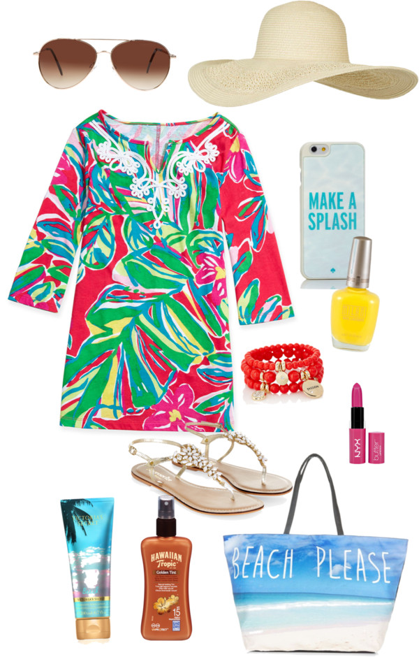 Beach please by senseijahnal featuring Kate Spade Monsoon strappy flat / Blue tote bag, $24 / The Limited beaded stretch bracelet / Kate Spade tech accessory / Eloquii aviator style sunglasses / Topshop crochet brim hat, $33 / NYX lipstick / Hawaiian Tropic sun care / Body moisturizer / Lilly Pulitzer Shel Palm-Print Tunic Dress