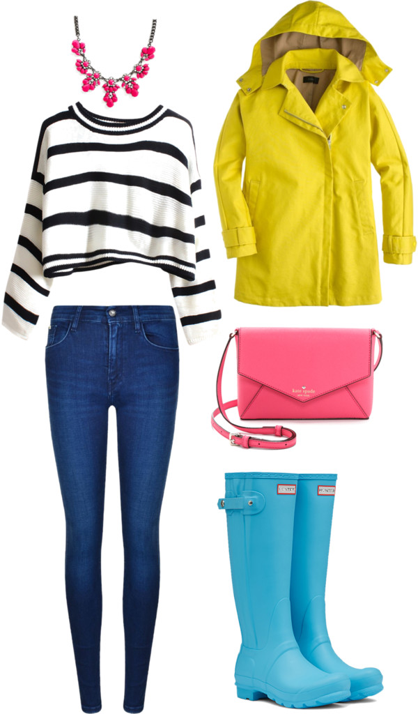 Rainy day by senseijahnal featuring a rain jacket White shirt / J Crew rain jacket / Calvin Klein high waisted jeans, $145 / Hunter rubber boots / Kate spade crossbody / Bib necklace