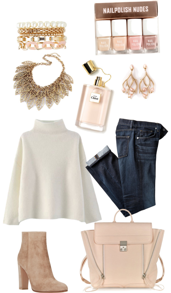 Subdue by senseijahnal featuring a white pearl bracelet Sweater pullover / Faded jeans / Gianvito Rossi suede ankle booties / 3 1 phillip lim backpack / Shaun Leane metallic jewelry, $695 / Bronze necklace / Charlotte Russe white pearl bracelet / H M nude nail color, $7.48