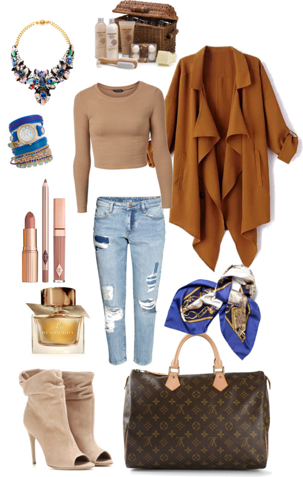 Autumnal nostalgia by senseijahnal featuring sequin jewelry Ribbed shirt, $14 / Camel trench coat / H&M ankle length jeans, $46 / Burberry beige ankle boots, $1,055 / Louis Vuitton vintage tote bag, $800 / SHOUROUK sequin jewelry / Yellow gold watch / Hermès hermes shawl / Lip glaze / Burberry edp perfume / Gift sets kit