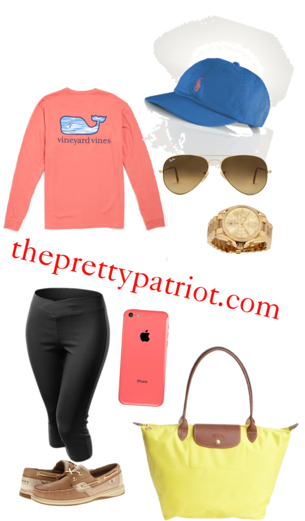 Casual Sundays by senseijahnal featuring capri pants Graphic design t shirt / Capri pants / Sperry Top-Sider sparkly shoes / Longchamp foldable tote / Michael Kors chrono watch / Ray Ban ray ban eyewear / Polo Ralph Lauren Signature Pony Hat