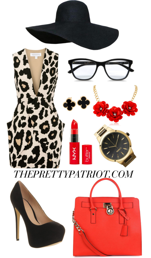 Scarlett Fever by senseijahnal featuring a michael michael kors purse Finders Keepers leopard mini dress, $265 / Office platform shoes, $80 / Michael michael kors purse, $525 / Watch, $265 / Red flower necklace / Van Cleef & Arpels van cleef arpels earrings / Red straw hat / STELLA McCARTNEY clear eyewear / Lips makeup