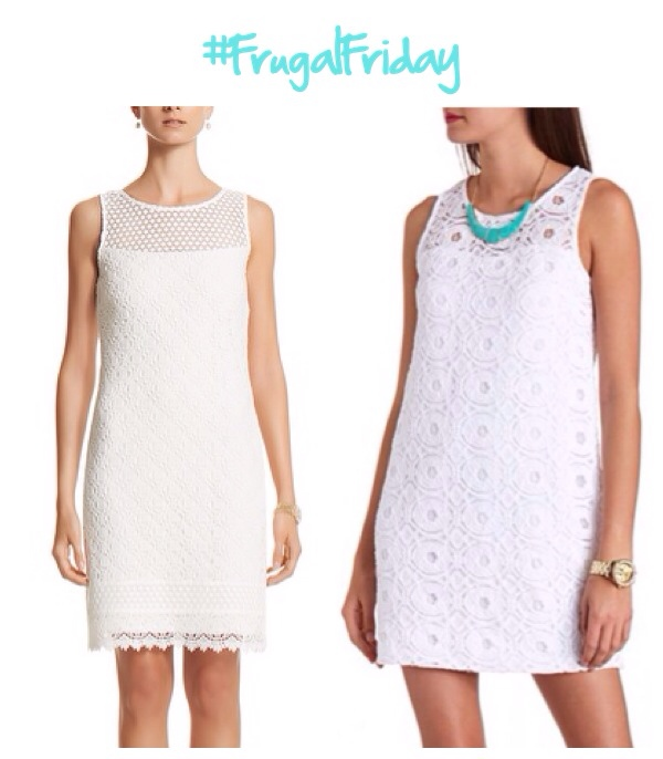 I thought it might be fun to start a weekly tradition of finding less expensive versions of lovely higher end pieces. So without further a due, this #FrugalFriday features a $200 White House | Black Market dress on the right and a $30 Charlotte Russe dress on the left. I bought the WHBM version because I'm an employee and have a much better idea of how those clothes fit me than I do of Charlotte Russe. Even with my discount, the WHBM dress was about 4x as expensive as the dress from Charlotte Russe. The Charlotte Russe dress appears to be much shorter than the WHBM dress, but depending on your lifestyle and where you intend to wear the dress that may not be much of a problem. I attend church regularly and will be interning for a congressman this summer, so I wanted something a little more modest that I could wear in more conservative settings. The Charlotte Russe version, however, is an adorable alternative with a modest silhouette despite its length.