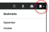 Click on the left to view an entire year of newsletters. To jump to a specific month, click on the bookmark symbol on the right to bring up the list of months.