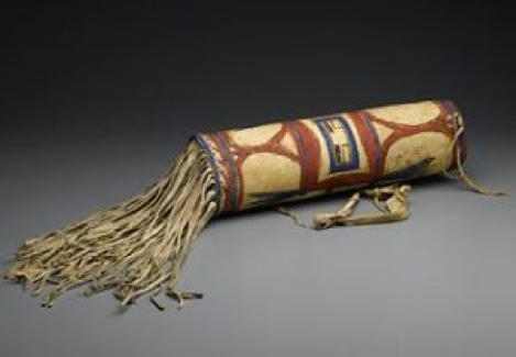 Blackfoot (Native American). Headdress Case, late 19th century. Rawhide, pigment, 17 1/2in. (44.5cm). Brooklyn Museum
