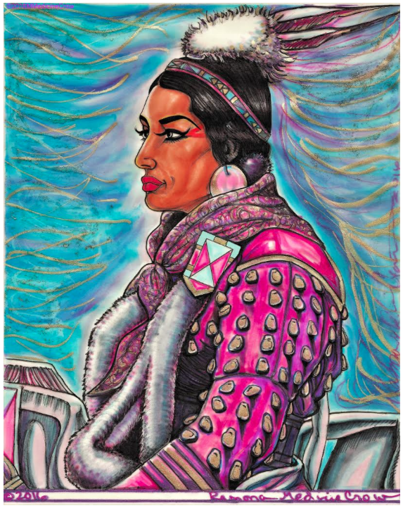 Crow dancer in Elk Tooth Dress, 2016, mixed media on vellum, 10 x 8 inches. Artist: Mona Medicine Crow (Crow)