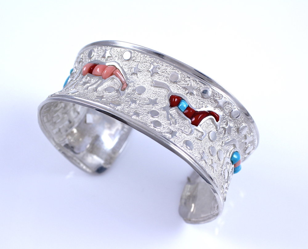 SSG-Ben+Nighthorse-Heavenly+Horses+Bracelet-Sterling+silver+w+Turquoise+Rosarita+Pink+Coral+and+Shell.jpeg