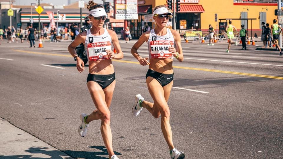 Shalane Flanagan & Amy Cragg at the U.S. Olympic Marathon Trial in 2016