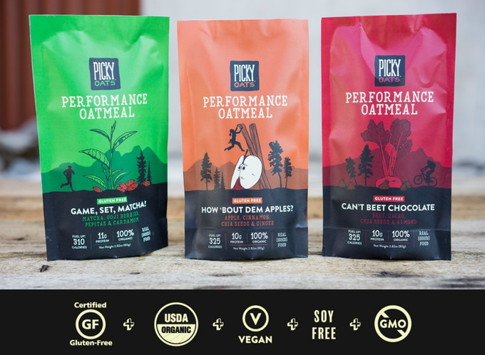 Picky Oatmeal Flavors, photo via Picky Oatmeal on Kickstarter