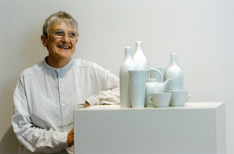 Gwyn Hanssen Pigott with Still Life with two cups 2005. Photograph by Anthony Weate. The Courier Mail, Queensland 2005
