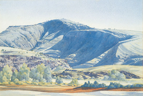 Mt Hermannsburg Finke River  c.1946-51  Albert Namatjira  watercolour over pencil on paper Source: National Gallery of Australia