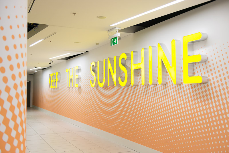 Keep the Sunshine  2014  Sebastian Moody  Perspex, aluminium and LED lights Source:  Sebastian Moody