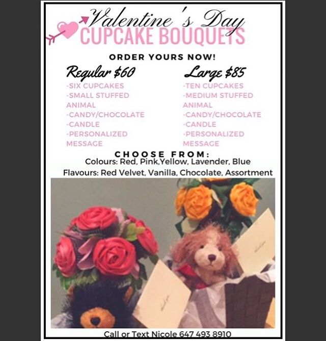 💕❤️Valentine's Day is soon approaching, get something especially Yummy, for someone special!😋🤤❤️💕 Order now!  #foodie#baking#bakery#bakedgoodies#cupcakes#valentinesday#cupcakebouquet#love#wife#hubby#mother#grandmother#lover#partner#bouquet#flower#toronto#torontofoodies