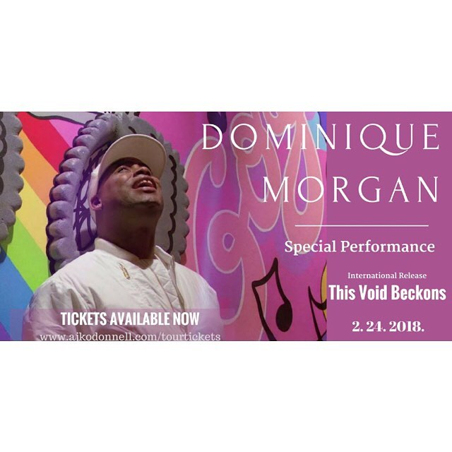 "For the next three weeks, we will be announcing one of the Special Guests performing at the Release of ""This Void Beckons"". 💜☕ We are extremely excited to announce our first performer.  My dear friend Dominique Morgan will be gracing us with his presence, essence, and his incandesce 💜💜☕️☕️ TICKETS AVAILABLE HERE --  https://tinyurl.com/y98uu5mv"