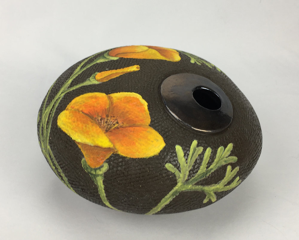 Round Vase with California Poppy