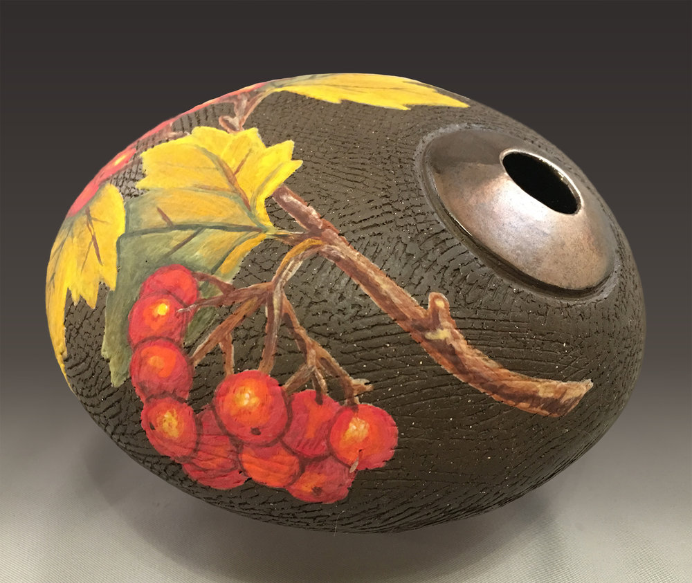 Round Vase with Red Berries