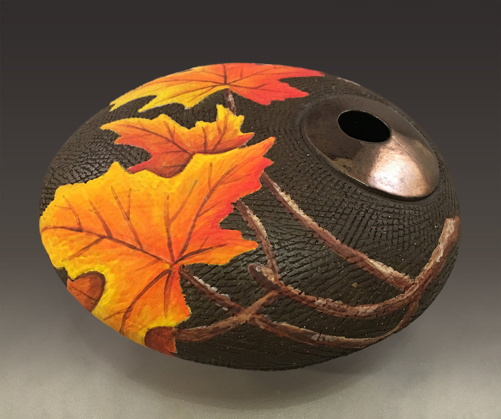 Round Vase with Maple Branch