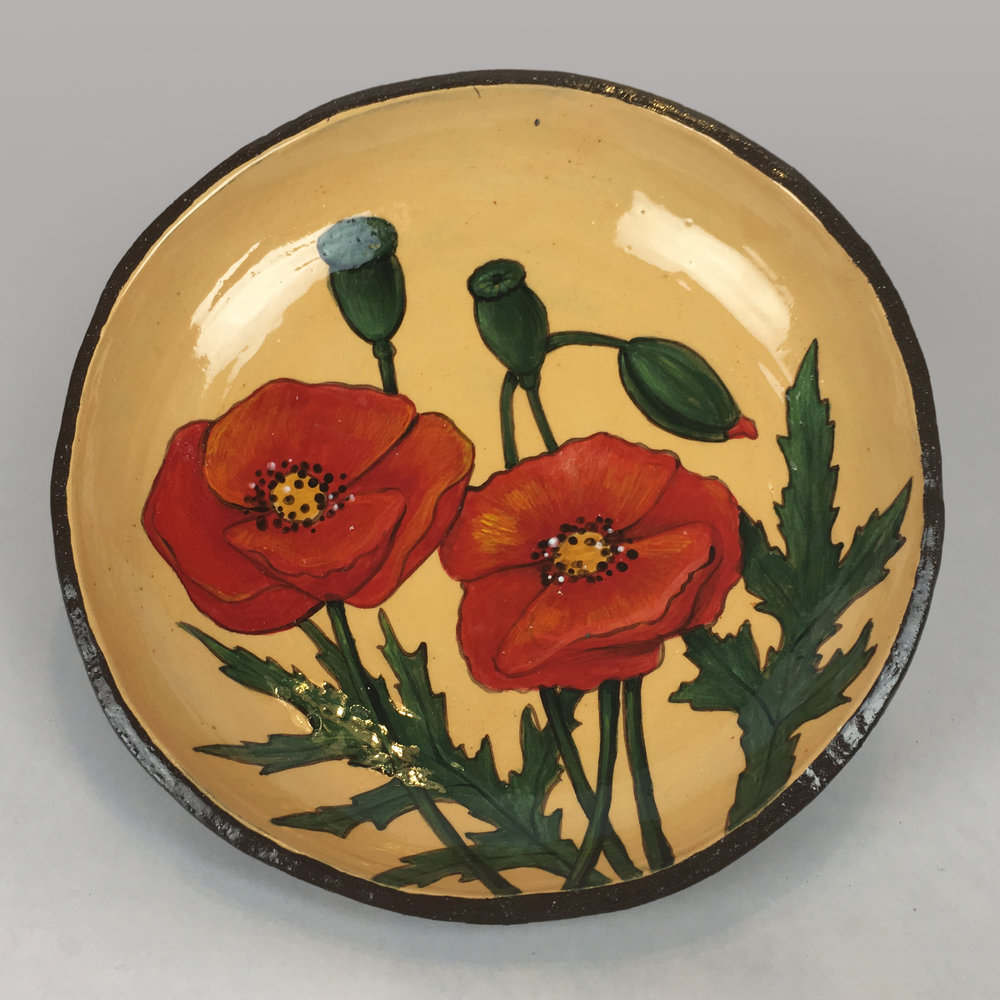 Plate with Red Poppy Flowers
