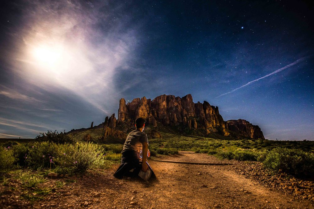 Self portrait in Arizona under moonlight