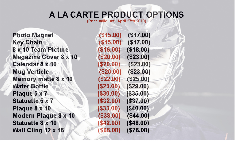 Shop a la carte Products - Save 15% by ordering prior to photo day