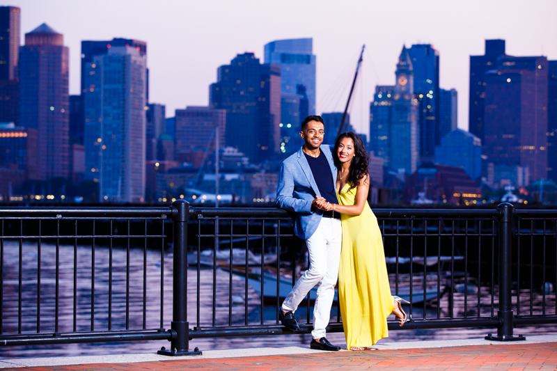 Couple of newly weds standing with Boston skyline in background-1.jpg
