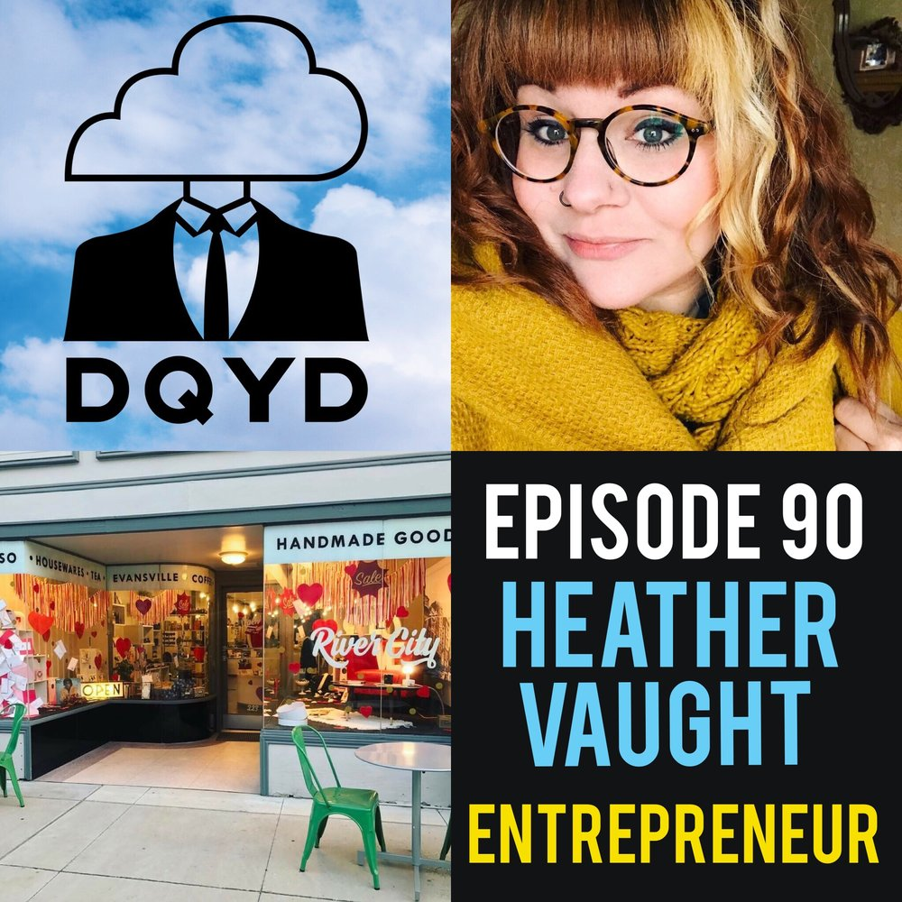"Episode 90 with Entrepreneur: Heather Vaught! Truly a renaissance woman, Heather has successfully run businesses booking shows, taking photography and now operating River City, Evansville's favorite hub for local clothing, coffee, crafts and more. Heather takes us down the path she took to get where she is today and includes some must have advice for anyone considering starting a business. http://rivercityevv.com/  Song of the week is ""Light of Day"" by hardcore masterminds, Jawbone! http://www.bloodandinkrecords.com/site/artists/active/jawbone/"