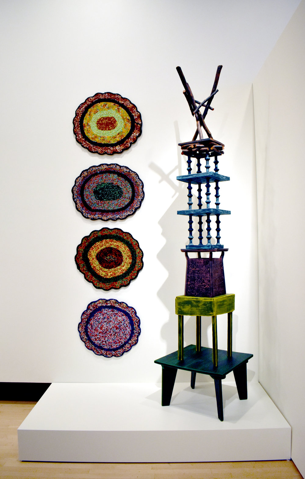 Sharon Bates,  Tall Yarn ;  Stacked , 2018, Installation view